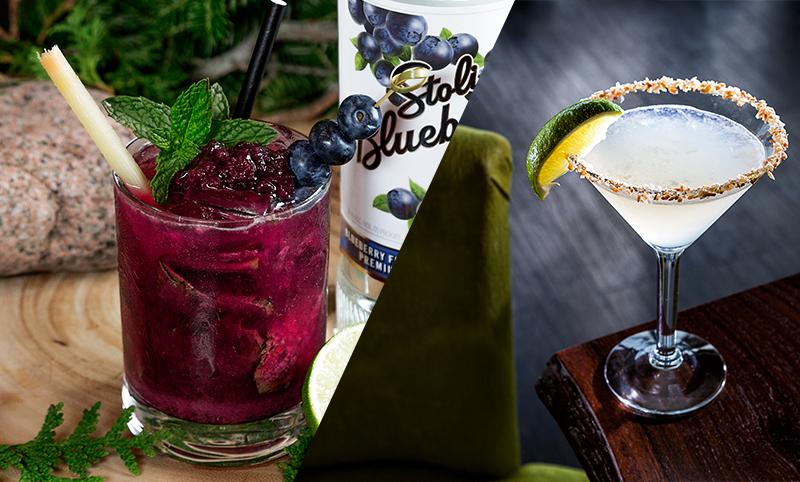 Main image depicts a split image of 2 cocktails.