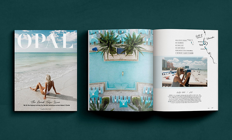 Main image depicts an open magazine featuring a resort pool and beach.
